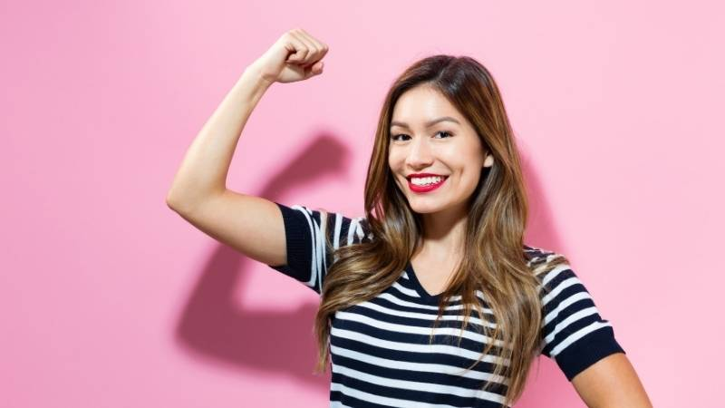 woman showing strong arms